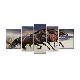 Wholesale More Fine - 5 Pieces Canvas Paintings Three Fine Horses Running Animal Picture Prints with Wooden Frame For Home Decoration as Gifts