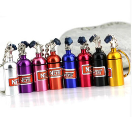 Wholesale Car Key Box - Turbo Keychain Creative Nitrous Oxide Bottle Keyring Key Chain Ring Keyfob Stash Pill Box Storage