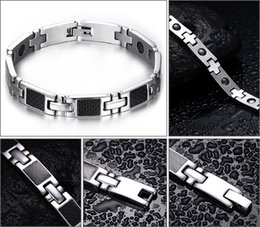 Wholesale Men Magnetic Bracelet Sale - FASHION Hot Sale Men Bracelets Carbon Fiber Stainless Steel Magnetic Health Hand Bracelet with Zircons Man Jewelry Therapy Bracelet B830S