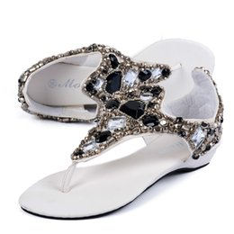 Wholesale Platform Flat Sandals Straps White - 2017 Gladiator Sandals Summer Style Flip Flops Elegant Platform Shoes Woman Fashion Rhinestone Sandals Dating Women Sandals A7041603