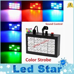 Wholesale Disco Laser Lighting Effect - Wholesale- RGB   White Led Strobe Laser Disco Laser Projector 1W pcs Voice Control Led Party Lighting 12W 18W 24W 48W Laser Effect Lighting