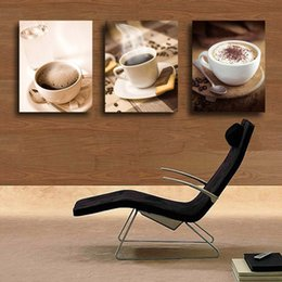 Wholesale Cup Coffee Pictures - 3 Panel Modern Home Wall Decor Art Painting Hot Cup Of Coffee Tea For Dinner,Printed on High Quality Canvas in custom sizes