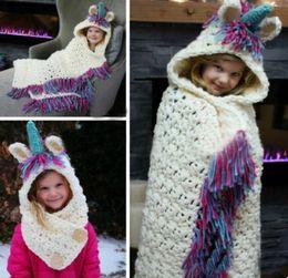 Wholesale Plaid Living Room - Kids Unicorn Crochet Blankets Boys Girls Living Room Sofa Blanket With Hats Baby Toddler Tassel Warm Bedding Wraps Children