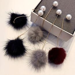 Wholesale Long Luxury Earrings - Mink Fur Pearls Earrings 3 Colors Women's New Jewelry Gold-Color Luxury Party Winter Long Earring Bijoux EN15187