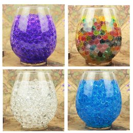 Wholesale Water Pearls Jelly Balls - About 7000PCS=1Bag Hot sell Pearl Shaped Polymer Crystal Soil ball toys Water Beads Mud Grow Magic Jelly Gel Balls Home Decor Aqua