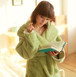Wholesale Flannel Nightgowns Women - winter woman man bathrobe pajamas Coralon Leather Flannel lovers sleepwear thicken nightgown Robes homewear S M L