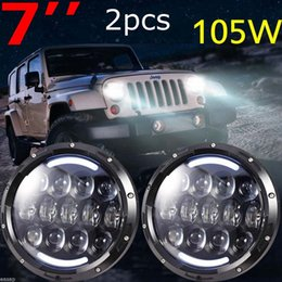 """Wholesale Led Amber Lighting - Jeeps Wrangler 7"""" Inch 105W Headlights LED Hi Lo Beam with Amber Turn Signal and White DRL For 1997-2016 JK TJ LJ Unlimited"""
