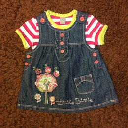 Wholesale Girls Jeans Embroider - Baby Clothes Girls Sets Jeans Floral Embroider Dresses+Cotton Striped Short Sleeve Tshirt Summer Infant Girls Clothes