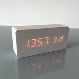 Wholesale Led End Table - Desk Table s 2017 Best High-end ,Thermometer Alarm LED Digital Voice Table Clock,13 colors Digital Clock Battery USB power