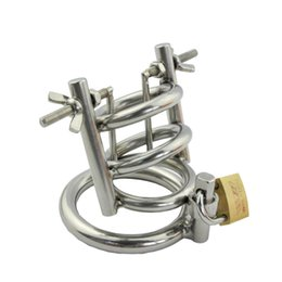 Wholesale Stretching Devices - New stainless steel male chastity device penis stretching urethral dilator cock cage scrotum stretcher cockring sex toys for men