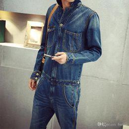 Wholesale Hot Short Denim Overalls Sale - Wholesale-2016 Hot Sale High Quality Men's full sleeve denim overalls Casual long length jeans Jumpsuits MB16279