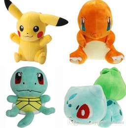 Wholesale Pokemon Christmas Plush - 4 Pcs lot 15cm Squirtle Charmander Bulbasaur Pikachu Plush dolls cartoon Poke plush toys poke Stuffed animals toys soft Christmas toys