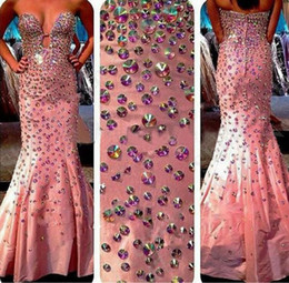 Wholesale Hot Women Sleeveless Shirts - Shiny Hot Pink Rhinestones Mermaid Prom Dress Vestidos Formatura Long Sparkle Beaded Taffeta Evening Gown For Women