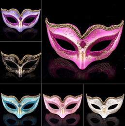 Wholesale Gray Masquerade Masks - Masquerade Ball Dance Mask Fashion women Costume Fancy Dress Prom Eye Mask Mardi Party wedding masks Gold Glitter Edge favors