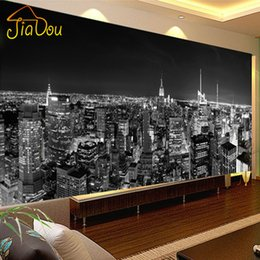 Wholesale Building Murals - Wholesale- Custom Photo Wallpaper Mural Night View New York City Black And White Building Wall Paper Simple Living Room Mural Wallpaper