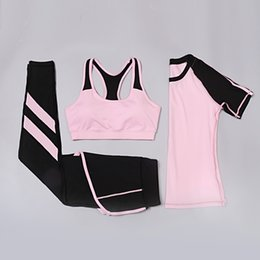 Wholesale Ladies Tennis Clothes - Ladies yoga clothes outdoor sports quick-drying fitness suit yoga 3 piece sports suit riding suit