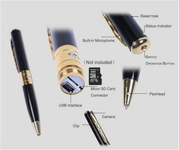Wholesale Spy Pen Silver - Spy Cameras Mini Hidden Pen Camera 1280x960 Spy Camera Recording Video Audio Recorder Support video voice recorder Silver and Gold Color