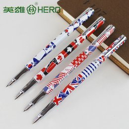 Wholesale National Pen - Wholesale- 3pcs lot hero 3165 0.38mm fountain pens Cartoon or National flags pens school & office stationery