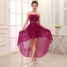 Wholesale Strapless Purple Bridesmaid Beads - Chiffon High Low Sweetheart Beaded Bridesmaid Dress 2017 Short Front Long Back Party Gowns Custom Made Formal Dresses Under 50
