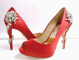 Wholesale Silver Satin Slip - 2017 red white Designer Shoes for Wedding Silver High Heel Wedding Shoes Silk Satin with Crystal Bridal Shoes for Ladise Evening prom party