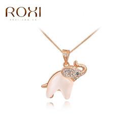 Wholesale Trendy Golden Chain - Roxi Fashion Trendy Jewelry Rose Gold Elephant Opal Necklace Golden Animal Pendant Necklace Elegant Gift Girls Birthday Gift