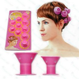Wholesale Soft Curlers - Wholesaler 10Pcs Hairstyle Soft Hair Care DIY Peco Roll Hair Style Roller Curler Salon Soft Silicone Pink Color Hair Roller