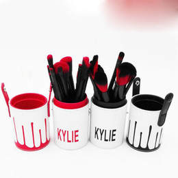 Wholesale Horn Pieces - Hot Selling Kylie Makeup Brush Cosmetic Foundation BB Cream Powder Blush 12 pieces Makeup Tools Black   red gold DHL Free shipping MR235