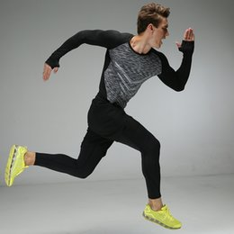 Wholesale Tight Mens Suit - Running suit mens fitness quick drying stretch tights gym long sleeve training running clothes compression sets 3pcs set