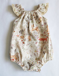 Wholesale Summer Baby Girls Caps - Baby Girls Deer Cap Sleeves Rompers with Snap Summer Children Boutique Clothing Euro America 0-3T Infant Toddlers Girls Rompers