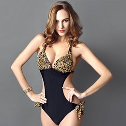 Wholesale One Piece Leopard Lingerie - New bikini plus size swimwear swimsuit sexy womens leopard one piece swim bathing suits bikinis for women push up lingerie swimsuits straps