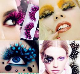 Wholesale Colorful False Feather Lashes - Colorful Feather False Eyelashes for Party makeup or Exaggerated Maquiagem White Spots Feather Eyelashes