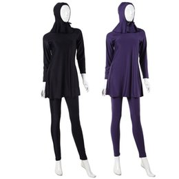 Wholesale Muslim Women Swim Suit - Three Pieces Conservative Muslim Swimsuit Woman Islamic Full Cover Hijab Swimming Wear Female Bathing Suits Free Shipping