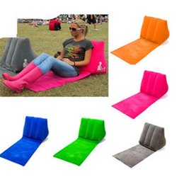 Wholesale Inflatable Travel Cushion - Outdoors Inflatable Pad Inflatable Beach Mat Outdoor Flocking Triangle Blanket Inflatable Travel Pillow Cushions Grass