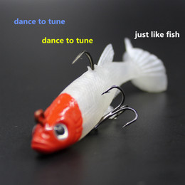 Wholesale Soft Lure Red Head - 5 Pack of Bionic Soft Bait Fishing Lure Artificial Bait White Body Red Head Fake Lure Fish Pesca Tackle Hooks 1606269