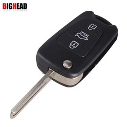 Wholesale Kia Ix35 - car BIGHEAD New 3 Buttons Flip Folding Remote Key Shell For Hyundai IX35 KIA Rondo Sportage Soul Rio With HYUNDAI LOGO