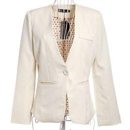 Wholesale Boyfriend Blazer Women - Women's Casual Boyfriend Blazer One Button Suit Jackets Coat Collarless Dot Lining Rose OL Blazer Female Long Blazer Feminino