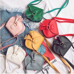 Wholesale Little Girls Mini Purses - Children's shoulder bags preschool girls mini tassel bag little baby kids messenger bags candy color purse for kids wallets T0673