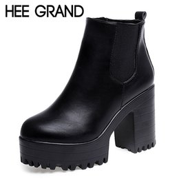 Wholesale Sexy Platform Ankle Boots - Wholesale-HEE GRAND 2016 New Women Boots Platform High Heels Ankle Boots Fashion Ladies New Pumps Sexy Shoes Woman Size 35-40 XWX2697