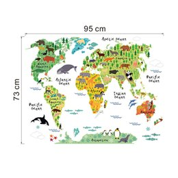 Wholesale World Map Vinyl Sticker - ZY037 new animal world map bedroom living room background wall stickers waterproof removable