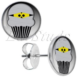 Wholesale Cupcakes Gray - Stainless Steel Gray Cupcake Stud Earrings Fake Plugs Diameter 10mm*1.2mm 50pcs lot ZCST-051