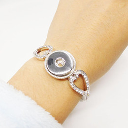 Wholesale Crystal Sliders Wholesale - Heart Shape Crystal Ginger Snaps Jewelry Clasp Snap Bracelets 18MM Fit Snap Button Snaps Bracelet