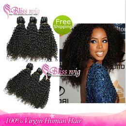 Wholesale Same Length Brazilian Hair - Wholesale-6A Brazilian Afro Kinky Curly Virgin Human Hair Extensions Unprocessed 3 Pcs Mixed Same Length Cheap Kinky Curly Human Bundles