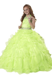 Wholesale Dresse Kids - Lime Green Girl's Pageant Dresse 2017 halter Beaded Crystals Ruffles Zipper Back Flower Girls Birthday Princess Dress Kids Formal Wear