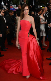 Wholesale Unique Silver Prom Gowns - Ralph And Russo Red Celebrity Dresses Taffeta Ruffles Gold Sash Long Length Sheath Court Train Unique Design 2015 Prom Gowns Red Carpet