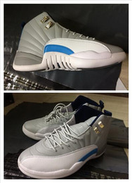 Wholesale Perfect Game - High Quality Super Perfect Air Retro 12 Wolf Grey Blue Flu Game French Blue The Master OVO white Men Basketball Shoes