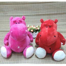 Wholesale Stuffed Hippo Animal Dolls - Wholesale- 16 Inches Large NICI Hippos Plush Toys Cartoon Animals Stuffed Dolls Pink Red Bebemoth Hippopotamus Kids Toy Children Gifts