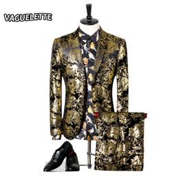 Smoking dourado on-line-Atacado- Homens terno de casamento de ouro Paisley Flores Mens desgaste do estágio para o cantor Slim Fit Sknniy terno masculino com calças 3XL (Blazer + calça)