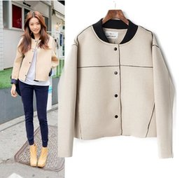 Wholesale Neoprene Coating - Wholesale- 2015 Autumn Winter Coat Women Space Cotton Neoprene Short Jacket Solid Contour Baseball Jackets Cardigans Outerwear C8009