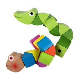 Wholesale Newborn Inserts - Wholesale- Cute Cartoon Colorful Insert Puzzles Infant Flexible Training Science Twisting Worm Toys Newborn Educational Wooden Baby Toys