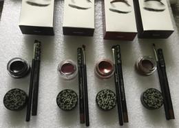 Wholesale Full Eyeliner - Kylie cosmetics gel eyeliner Pen Eyebrow 1 set = eyeliner + brush + cream kylie Jenner kit bronze chameleon Kyliner Black Brown makeup sets